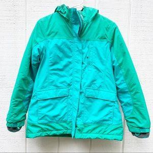 Land's End green teal winter coat kids XL womens M